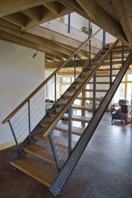 Steel And Cherry Stair Industrial Staircase