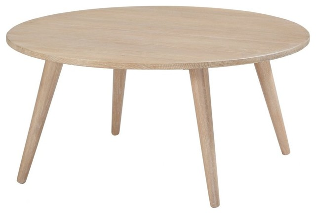 36 w sora coffee table solid white oak wood round