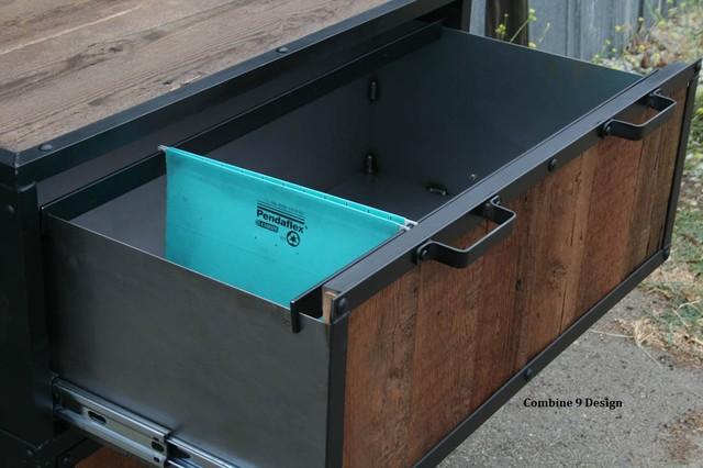 Modern Industrial File Cabinet Reclaimed Vintage Wood