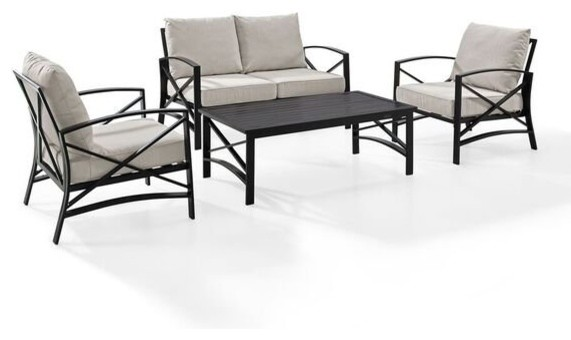 kaplan 4 piece patio set loveseat 2 chairs coffee table oatmeal