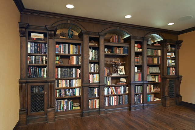 Old English Library Traditional Living Room Portland By Rockwood Cabinetry