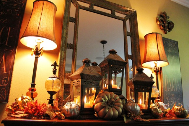 Dining Room Fall Mantle Vignette