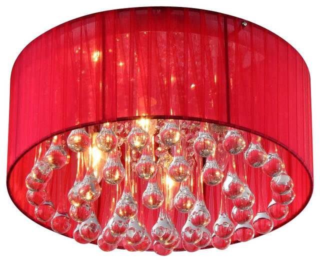 Erinyes Red Shaded Crystal And Chrome Ceiling Lamp Chandeliers