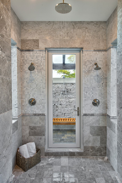 Master Bath With Access To Outdoor Shower Traditional