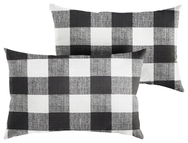 stewart black buffalo plaid lumbar pillow set of 2