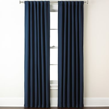 Eclipse Fresno Rod PocketBack Tab Blackout Curtain Panel Dark Blue Traditional Curtains