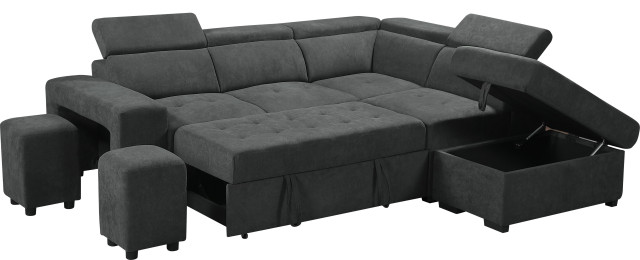 henrik gray sleeper sectional sofa with storage ottoman and 2 stools dark gray
