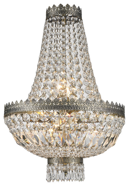 French Empire 6 Light Crystal Basket Chandelier Antique Bronze Traditional Chandeliers