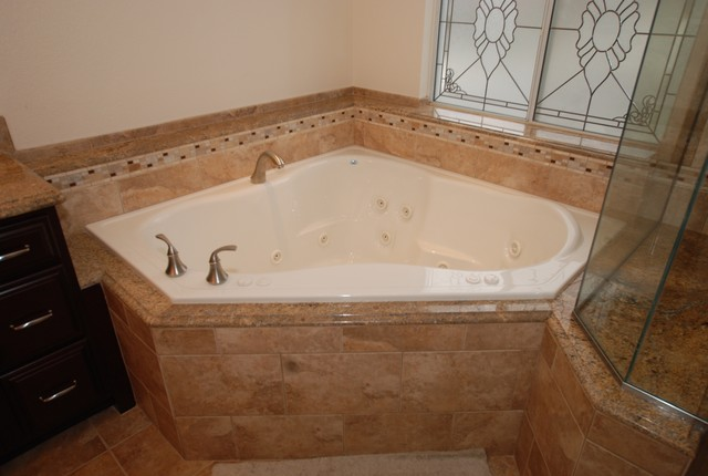 Corner Tub Amp Shower Seat Master Bathroom Reconfiguration