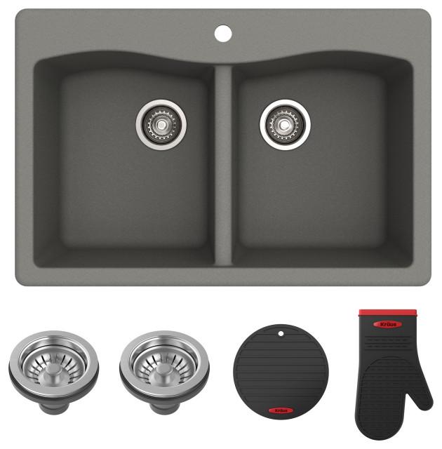 forteza 33 drop in undermount granite composite 50 50 kitchen sink grey
