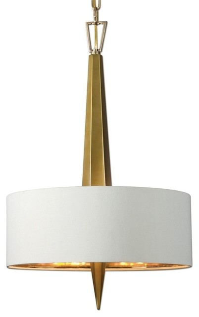 Uttermost Modern Gold 3 Light Chandelier Contemporary White Shade Chandeliers