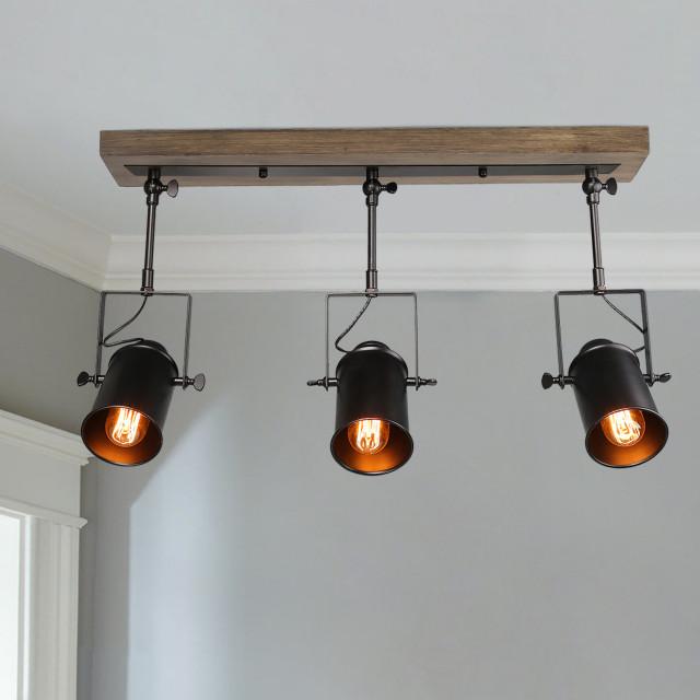 industrial 3 light wood close to ceiling track lighting spotlights black