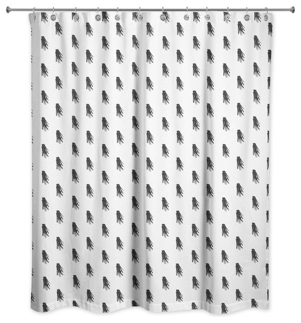 black and white tassel print shower curtain