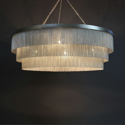 Silver Chain Shallow Chandelier Contemporary Pendant Lighting