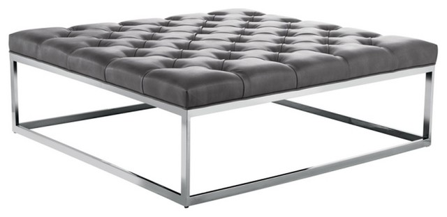 square leather ottoman large