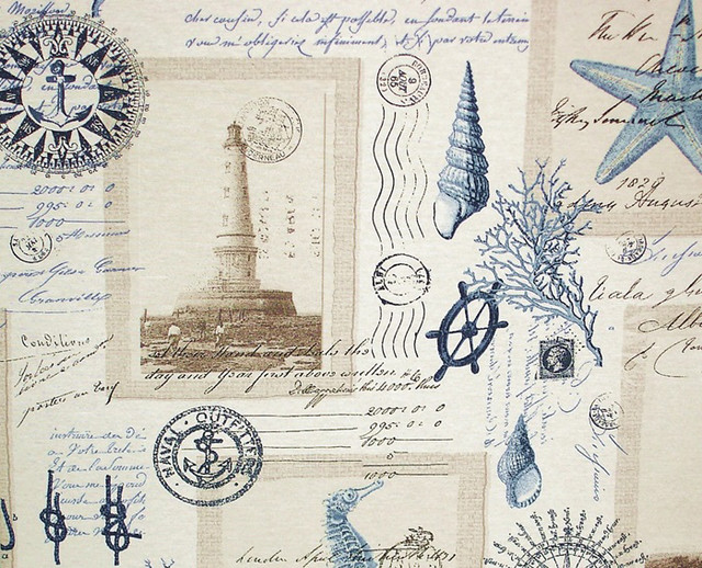 nautical lighthouse fabric vintage postcard french writing standard cut