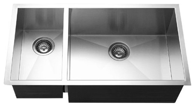 houzer cto 3370sl contempo stainless steel 70 30 double bowl sink left prep bowl