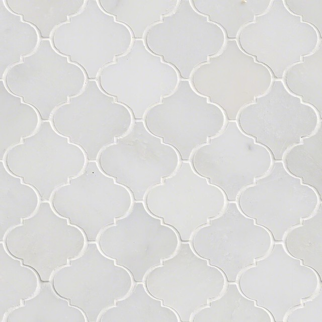 greecian white arabesque pattern polished mosaic sample