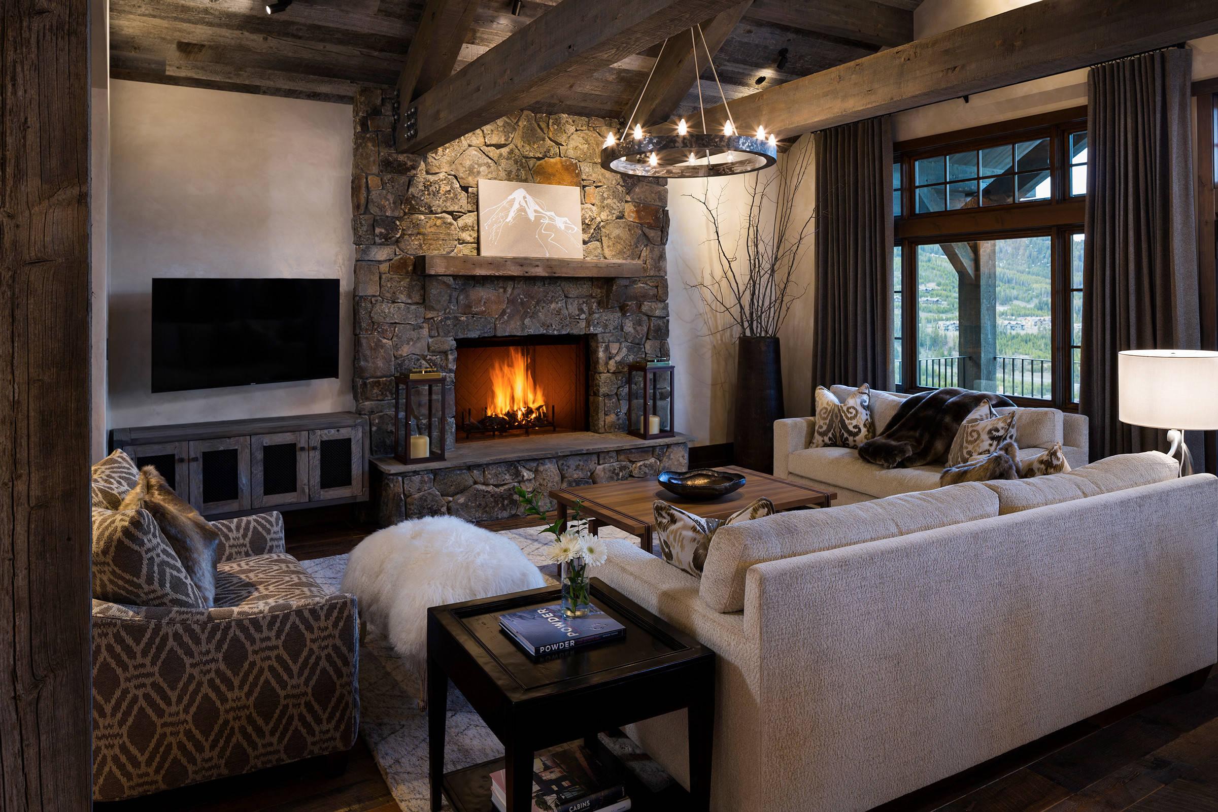 75 Beautiful Rustic Dark Wood Floor Living Room Pictures