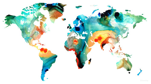 Maps - World and US Maps Large Colorful Unique Wall Art From Original Paintings