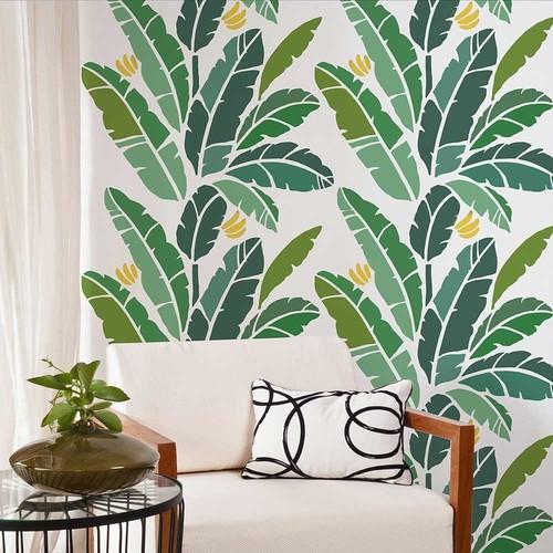 Banana Leaf Allover Stencil, Easy DIY Wall Decor