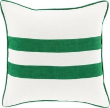 """Lydia Jane Pillow, Emerald and Kelly Green and Ivory, Polyester Filler, 22"""""""