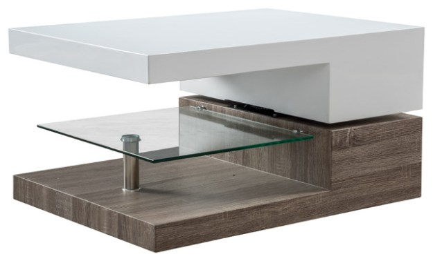 emerson mod swivel coffee table with glass - modern - coffee tables