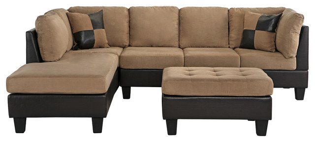 3 piece modern microfiber faux leather sectional sofa with chaise hazelnut