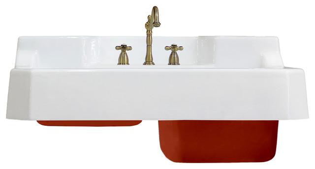 new 44 high back double basin wall mount deep kitchen farm sink