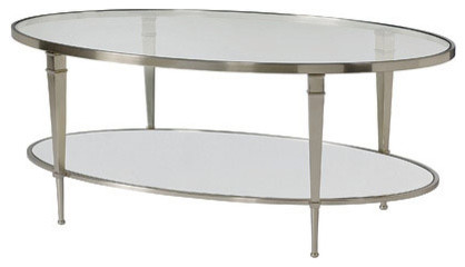 hammary mallory oval glass top cocktail table satin nickel
