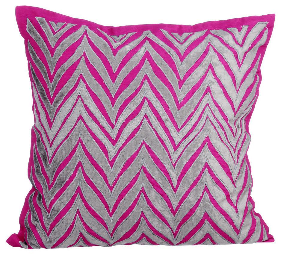 pink throw pillow covers 16 x16 silk chevron fuchsia glam