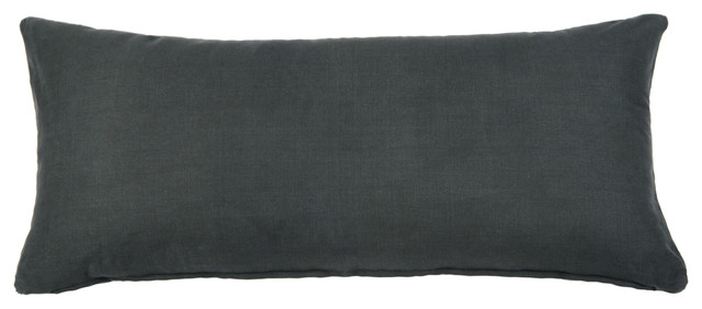 solid charcoal gray long body pillow cover 14 x36