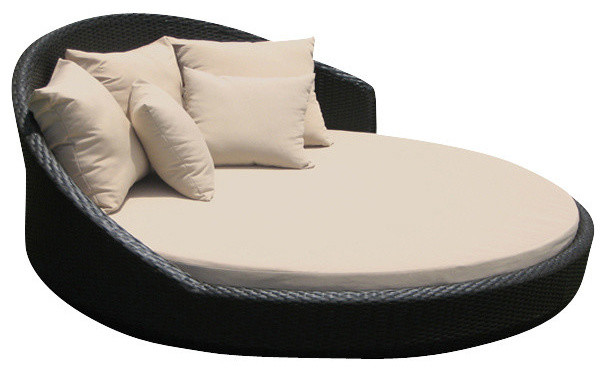 outdoor wicker lounge all weather round double bed