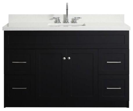 hamlet 55 bath vanity black with quartz vanity top white with white basin