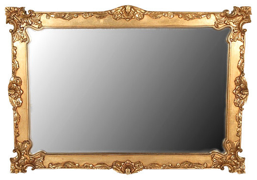Gold Baroque Framed Mirror, Solid Mahogany, 6'