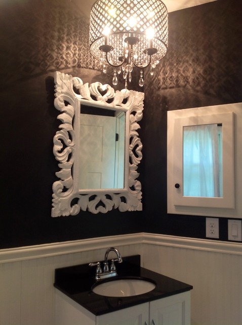 Black And White Bathroom With Crystal Chandelier Contemporary