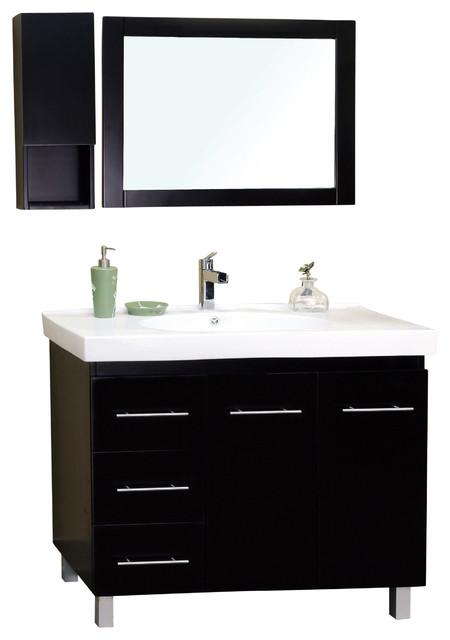 """Bellaterra 39"""" Single Sink Vanity, Wood-Black -Left Side ... on {keyword}"""