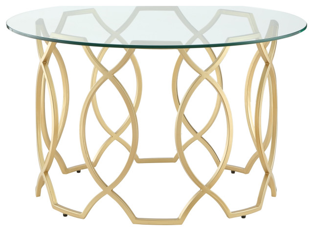 nicole miller aziz coffee table round clear glass top metal frame gold