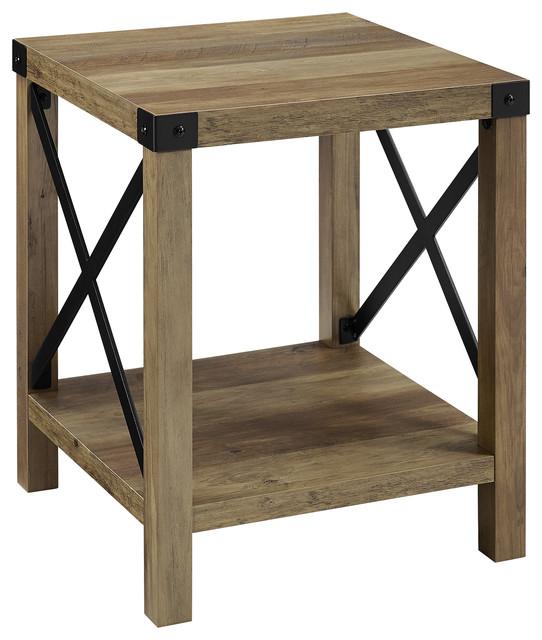 18 farmhouse metal x accent side table rustic oak