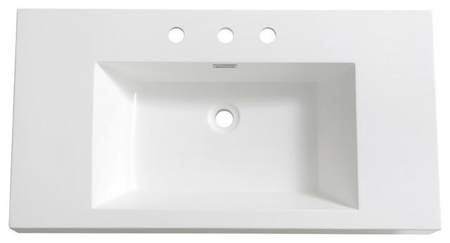 vista 36 integrated sink countertop white