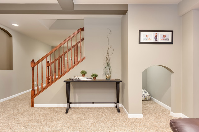 Basement Kids Play Area Under The Stairs Transitional