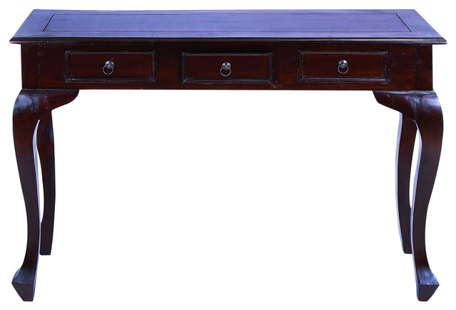 Traditional Wooden Console Table With Metal Pulls & Curved