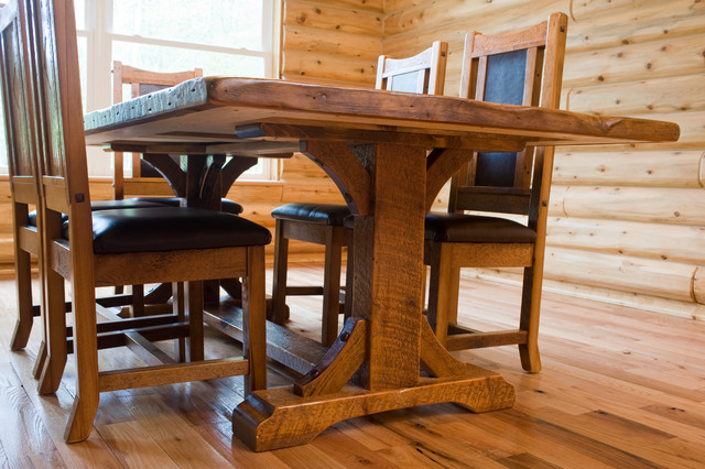 Trestle Base Reclaimed Wood Dining Table Farmhouse Dining Room Other By Woodland Creek
