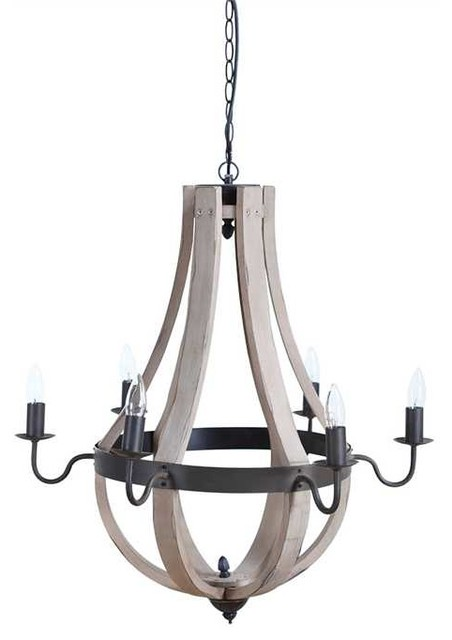 Lodge Wood And Metal 6 Light Chandelier Farmhouse Chandeliers