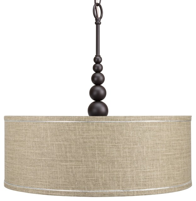 Revel 22 Brushed Nickel Chandelier Gray Drum Shade And Tempered Glass Diffuser