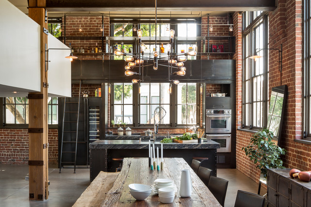 Clocktower Loft industrial-dining-room