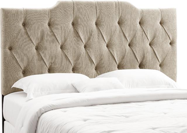 Tufted Upholstered Panel Headboard, Linen