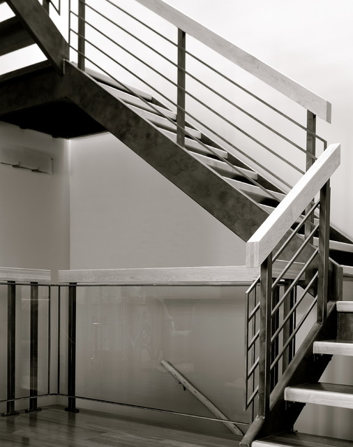 Stone Wood Amp Steel Interior Railing Modern Staircase Calgary By Stone Wood And Steel