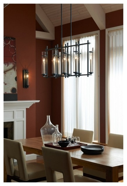 Modern Chic Iron Linear Chandelier With Cylinder Glass Contemporary Dining Room