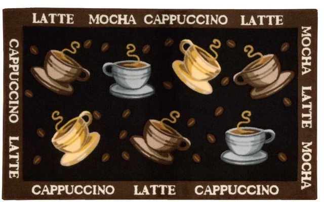 """Accent Decor Coffee Cup Accent Rug, Black, 2'3""""x3'9"""